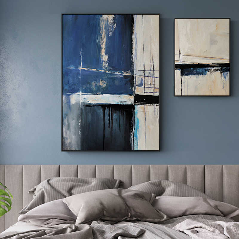 Abstract Blue Creative Seascape Canvas Paintings Posters And Print Unique Decor Wall Art Pictures For Living Room Bedroom Studio