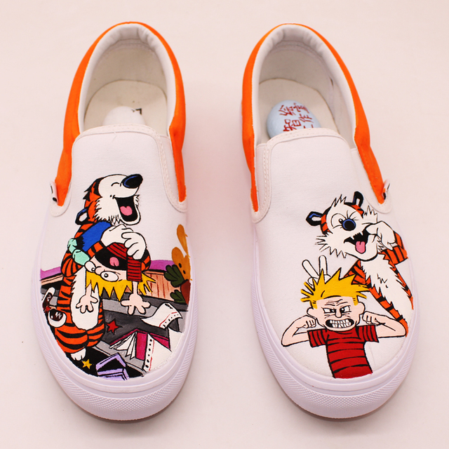 7304cf5900 Calvin and Hobbes shoes news 2018 canvas men and women hand painted slip on  Light casual shoes Perimeter of animation