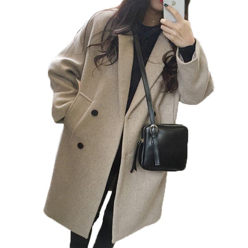 Plus D'hiver 2018 De Noir Lâche La Occasionnel Hui qian Manteau Taille Se vent Pleine Long Couleur Femmes Femelle Z221 Chaud Laine Nouvelles Coupe Élégant Outwear Yr1YT
