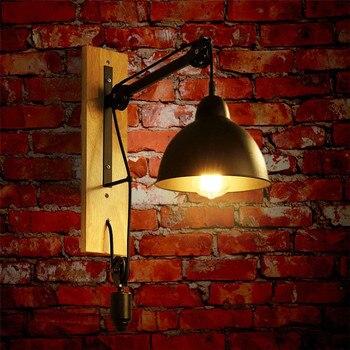 BEIAIDI Amerikan Retro Endüstriyel Ahşap Başucu Duvar Lambası E27 Demir Loft Restoran Koridor Koridor Cafe Kaldırma Kasnak Duvar Işık