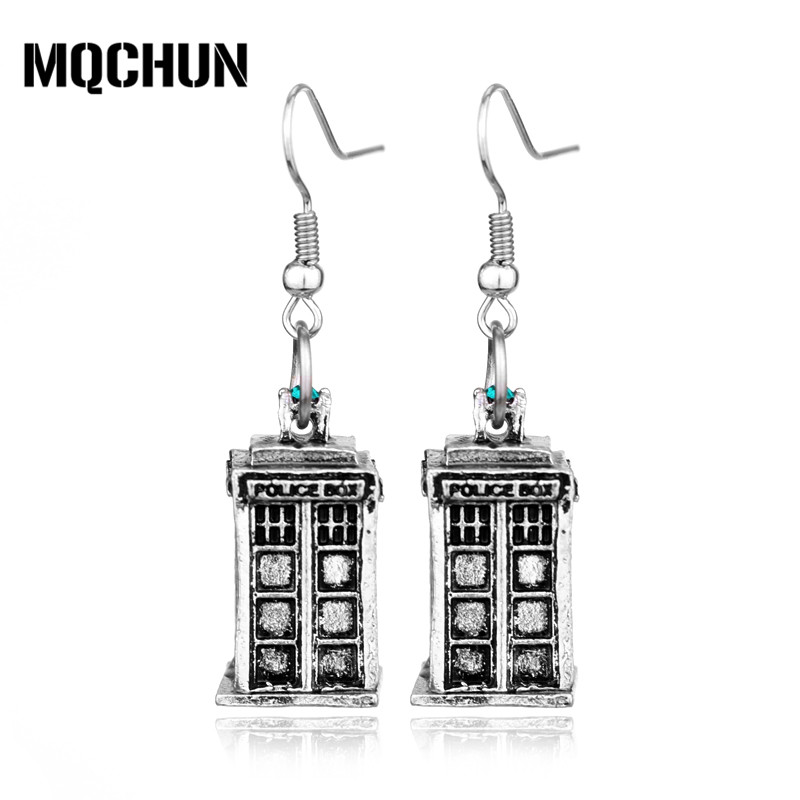 MQCHUN Fashion Vintage Mysterious Dr. Silver Color Alloy Drop Earrings Doctor Who TARDIS ...