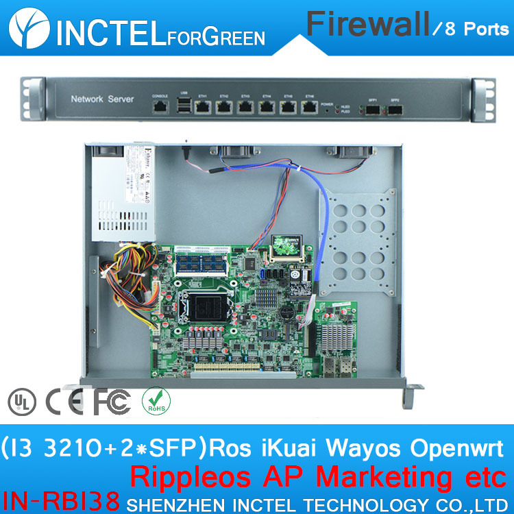 1U Firewall Server with I3 3210 CPU 1000M 6 82574L 2 groups Bypass 2 82580DB Fiber