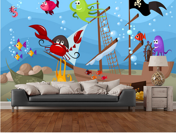Custom papel de parede infantil, Sunken Pirate Ship,3D cartoon wallpaper for living room bedroom TV wall waterproof wallpaper custom children wallpaper multicolored crayons 3d cartoon mural for living room bedroom hotel backdrop vinyl papel de parede