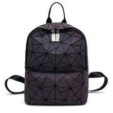 New Luminous School Backpack Women Folding Geometry Backpacks Female Drawsting School Bags For Teenage Girl Hologram Backpacks cheap NONE Geometric Softback Zipper Hasp Polyester Below 20 Litre Arcuate Shoulder Strap Solid Bag Casual Soft Handle Interior Compartment Interior Zipper Pocket Cell Phone Pocket