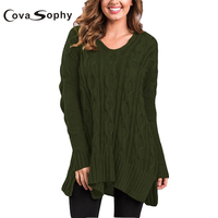 Cova Sopy 2017 Autumn Winter Long Twist Casual Loose Sweater Women Batwing Sleeve Solid Pullovers Tops