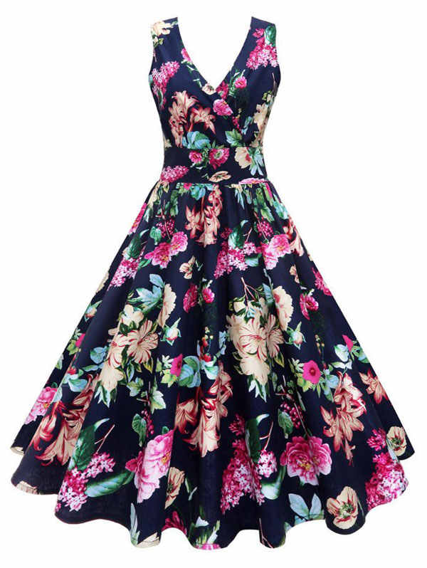 Wipalo Элегантное винтажное платье с глубоким декольте большого размера 4xl 5xl, цветочный принт, v-образный вырез, высокая талия, ретро платье из 50-х, макси, корректирующее фигуру платье, летний сарафан