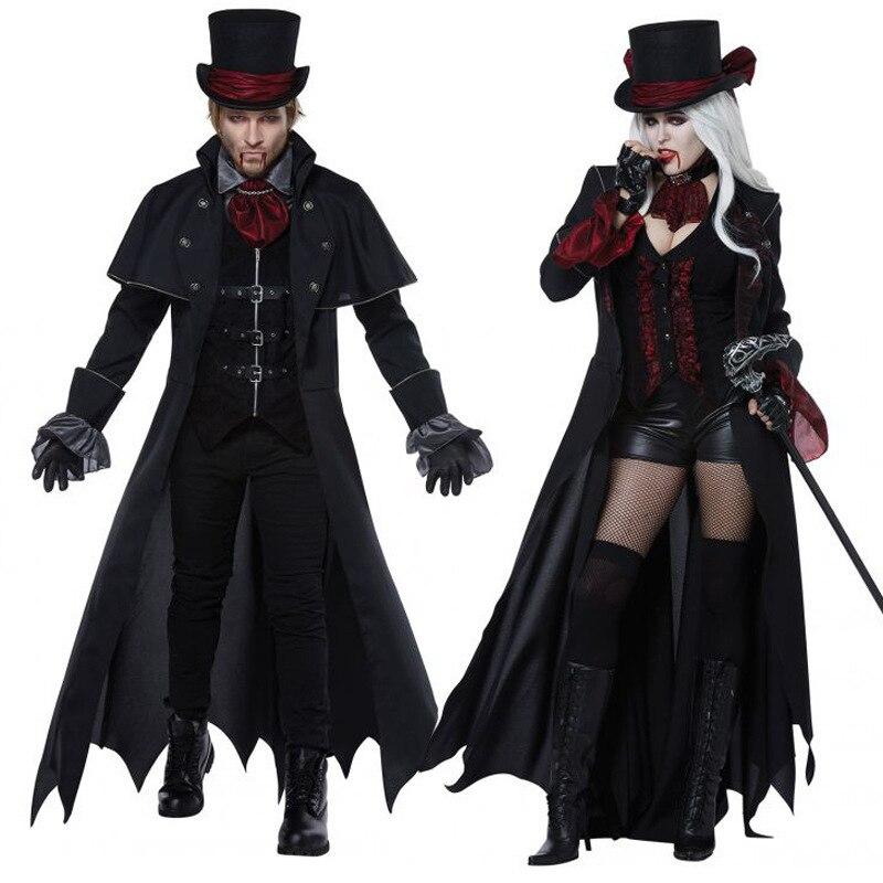 Новый взрослый Вампир Костюмы для женщин мужские вечерние lowey Vampiro пара фильм косплэй причудливый наряд костюмы платья для женщин