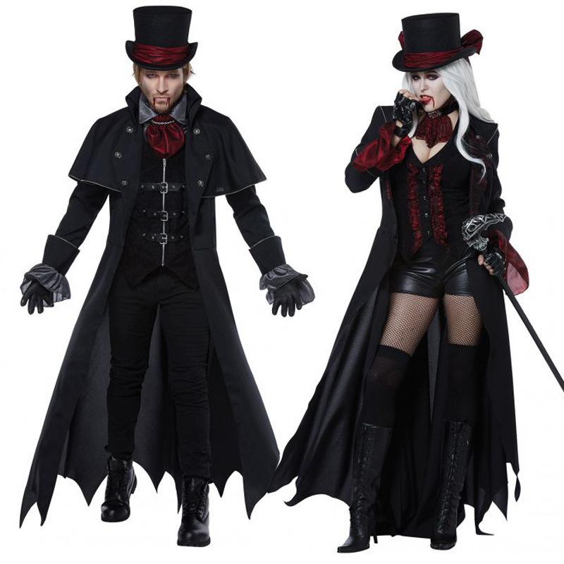 New Adult Vampire Costumes Women Mens Halloween Party Vampiro Couple Movie Cosplay Fancy Outfit Clothing Dresses пандора браслет с шармами