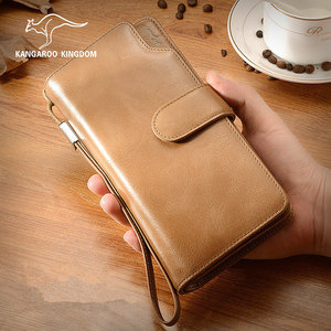 Image 5 - Роскошные винтажные мужские кошельки KANGAROO KINGDOM из натуральной кожи, брендовый мужской повседневный клатч, кошелек