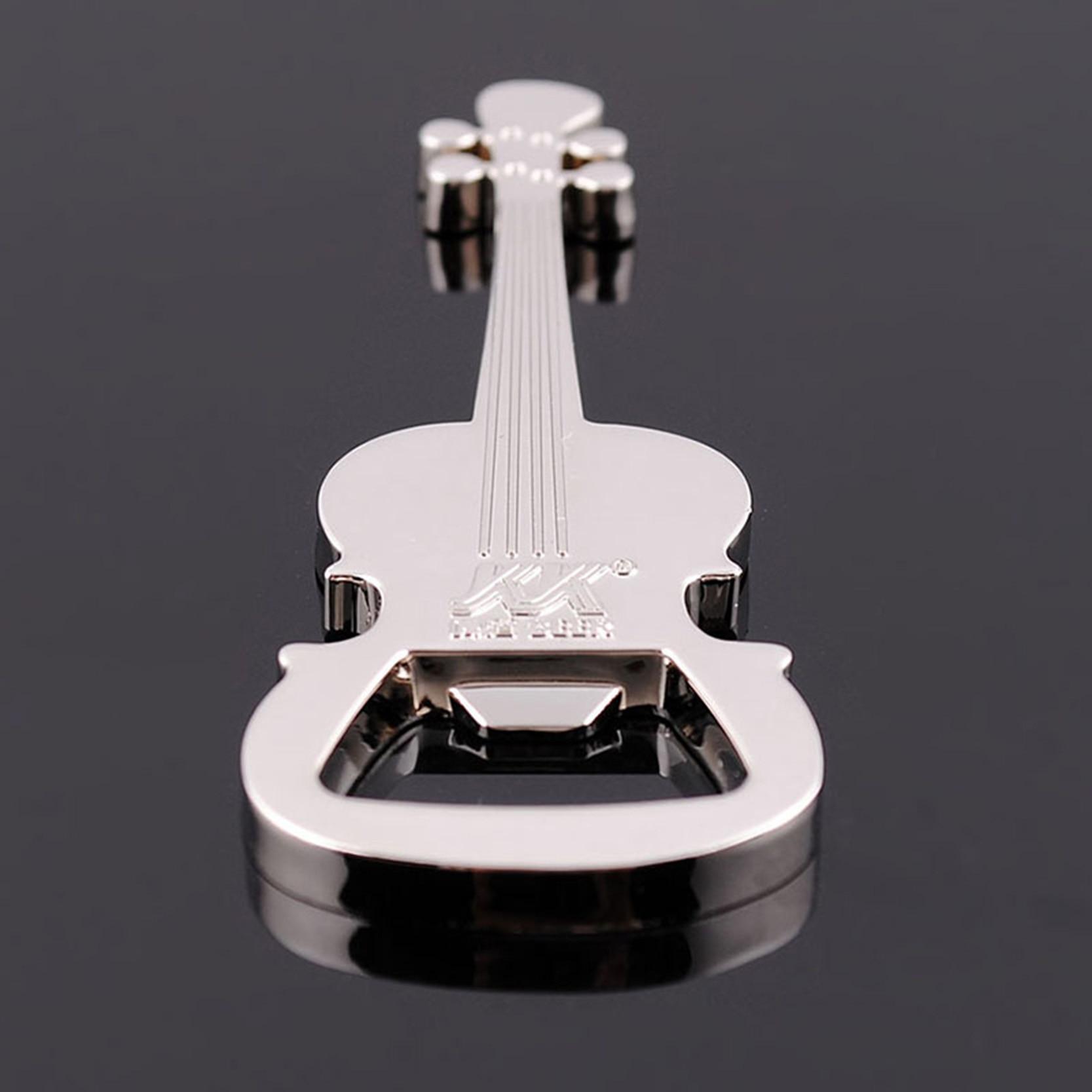 Music Lover Gift Guitar Shape Pendant KeyChains Mans Beer Bottle Opener Male Key Chains Jewellry Car Bag Keyring Rings Holder