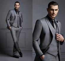 אופנה נאה כהה אפור Mens חליפת חתן חליפת חתונה חליפות גברים הטוב ביותר Slim Fit חתן טוקסידו לגבר (מעיל + Vest + צפצף)