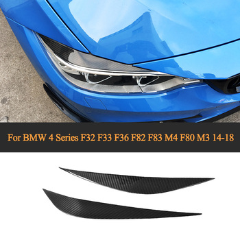 Carbon Fiber Front Headlight Eyebrows Eyelids Trims for BMW 4 Series F32 F33 F36 F82 F83 M4 F80 M3 14-18 Car-Styling image