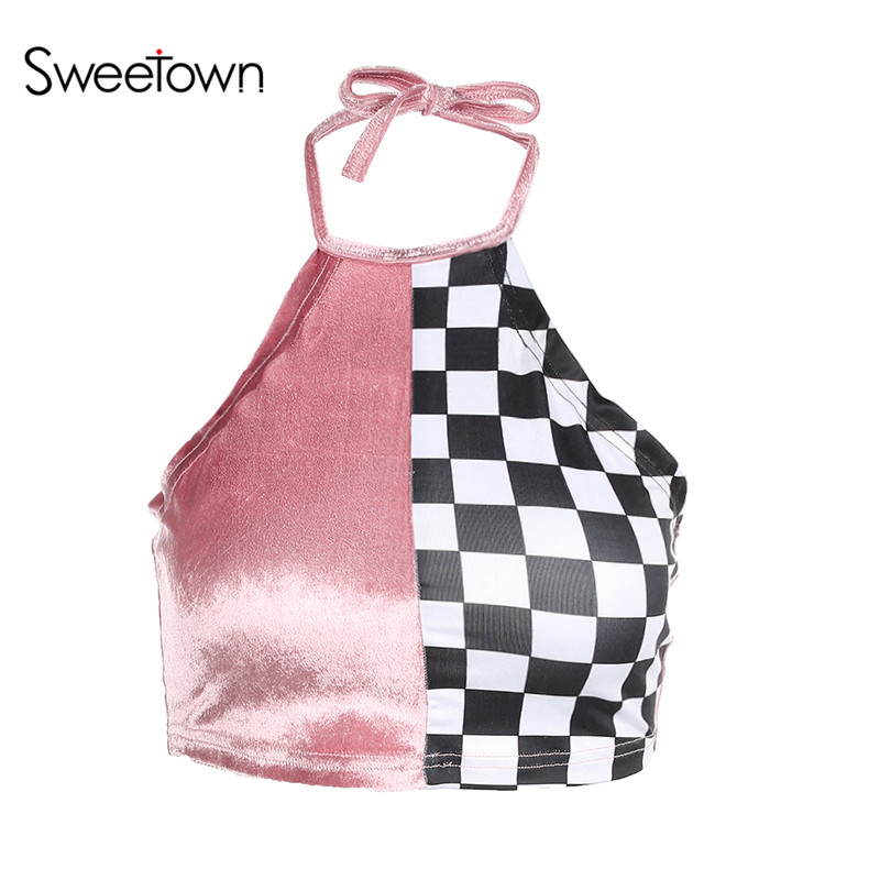 Sweetown Plaid Patchwork Sexy Crop Top Tees Vogue Backless Camisole Short Bustier Halter Tank Top Women Velvet Tops Female Camis