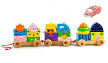 New wooden toy Removable blocks train Tren Divertido funny Free shipping