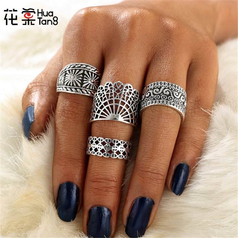 HuaTang 4pcs/set Antique Silver Hollow Flower Punk Rings For Women Steampunk Carved Middle Knuckle  Anillos Anel Jewelry 3947