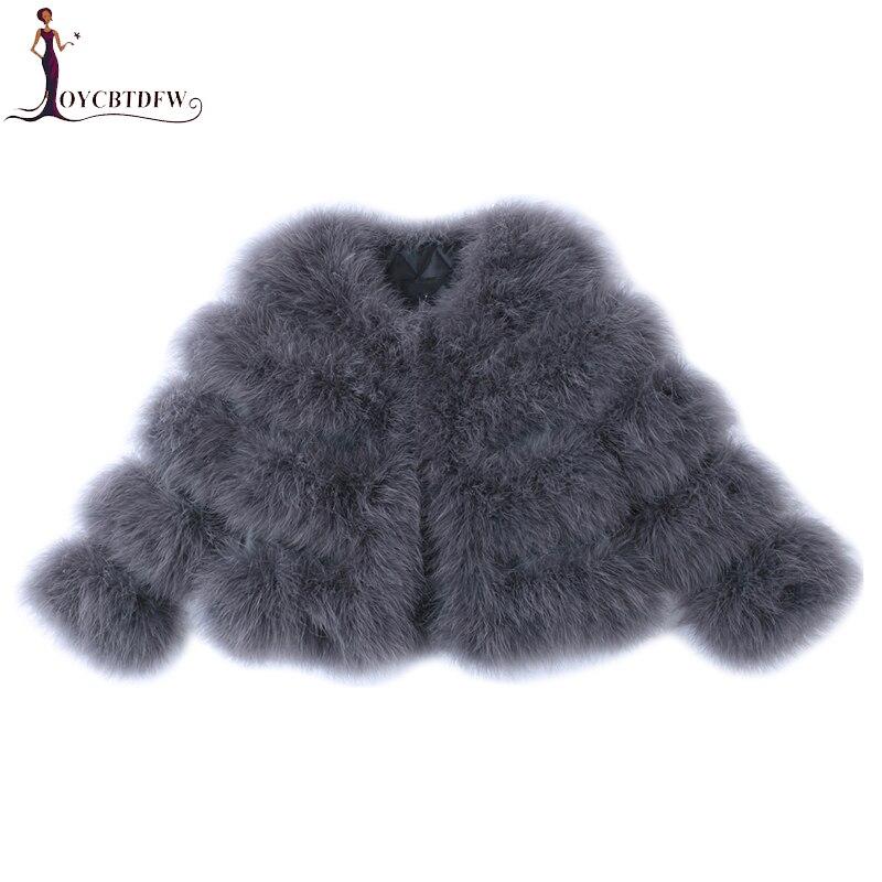 Femmes manteaux vestes d'hiver 2018 nouveau mode élégant autruche plumes manteaux femmes veste courte hiver chaud fourrure survêtement XY655