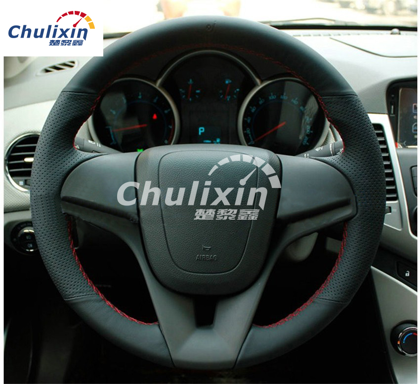 Sew-on genuine leather car steering wheel cover Car accessories For Chevrolet Cruze sedan hatchback 2009 2010 2011 2012 2013 2014 hotsale silicon car key cover for chevrolet cruze 2009 2014 sedan hatchback accessories car key cover case