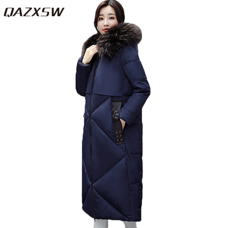 QAZXSW 2017 New Winter Cotton Coats Women Long Parkas Hooded Jacket Slim Thick Padded Big Fur Collar Casual Winter Jacket HB355 qazxsw 2017 new winter cotton coat women slim hooded jacket two sides wear long parkas fur collar winter padded abrigos hb339