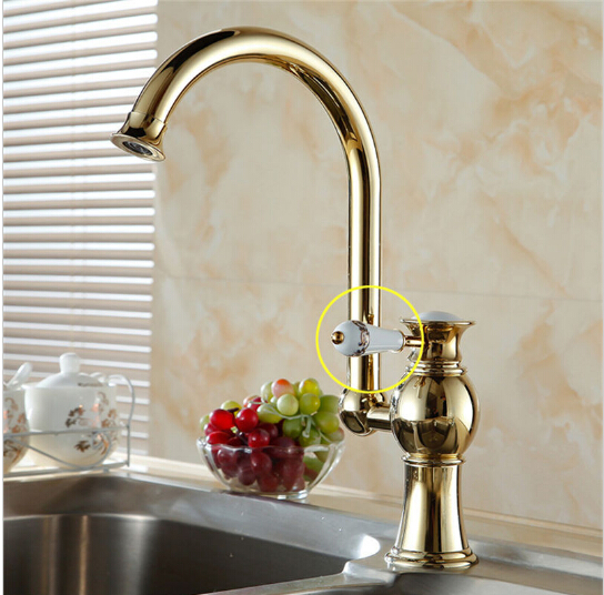 Free shipping Luxury Golden brass kitchen faucets tap single hand hot and cold wash basin mixer
