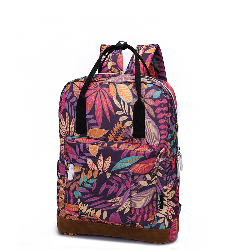 2017 Daily Women Backpack School Teenager Girl Flowers Printed Nylon Travel Ruchsack Casual Floral Laptop Satchel Bag Mochila  texu floral canvas bag backpack school for teenager girl laptop bag printing backpack women backpack khaki