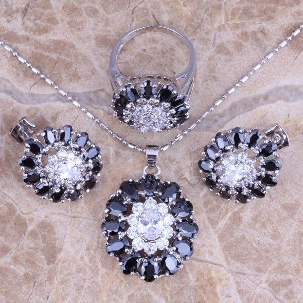 Wonderful Black Cubic Zirconia White CZ Silver Jewelry Sets Earrings Pendant Ring Size 6 / 7 / 8 / 9 / 10 S0428