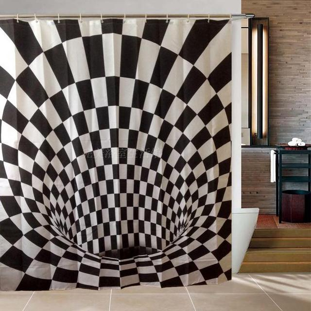 3D Cube Polyester Thick Waterproof Shower Curtain Black And White Plaid Curtains Cool For Bathroom