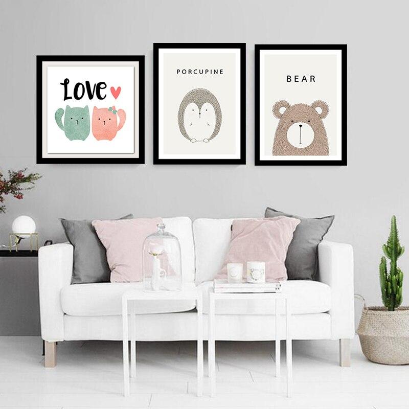 simple lindo animal de la historieta imagen lienzo pintura art print poster pared decoracin casera moderna decoracin del dormi