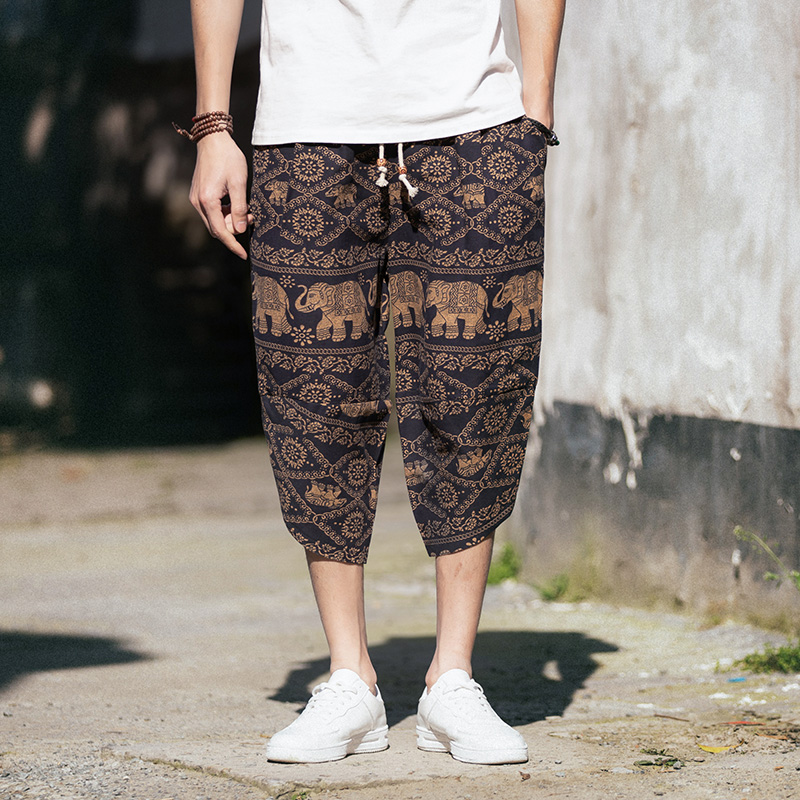 Calf-Length Loose Casual Pants  1
