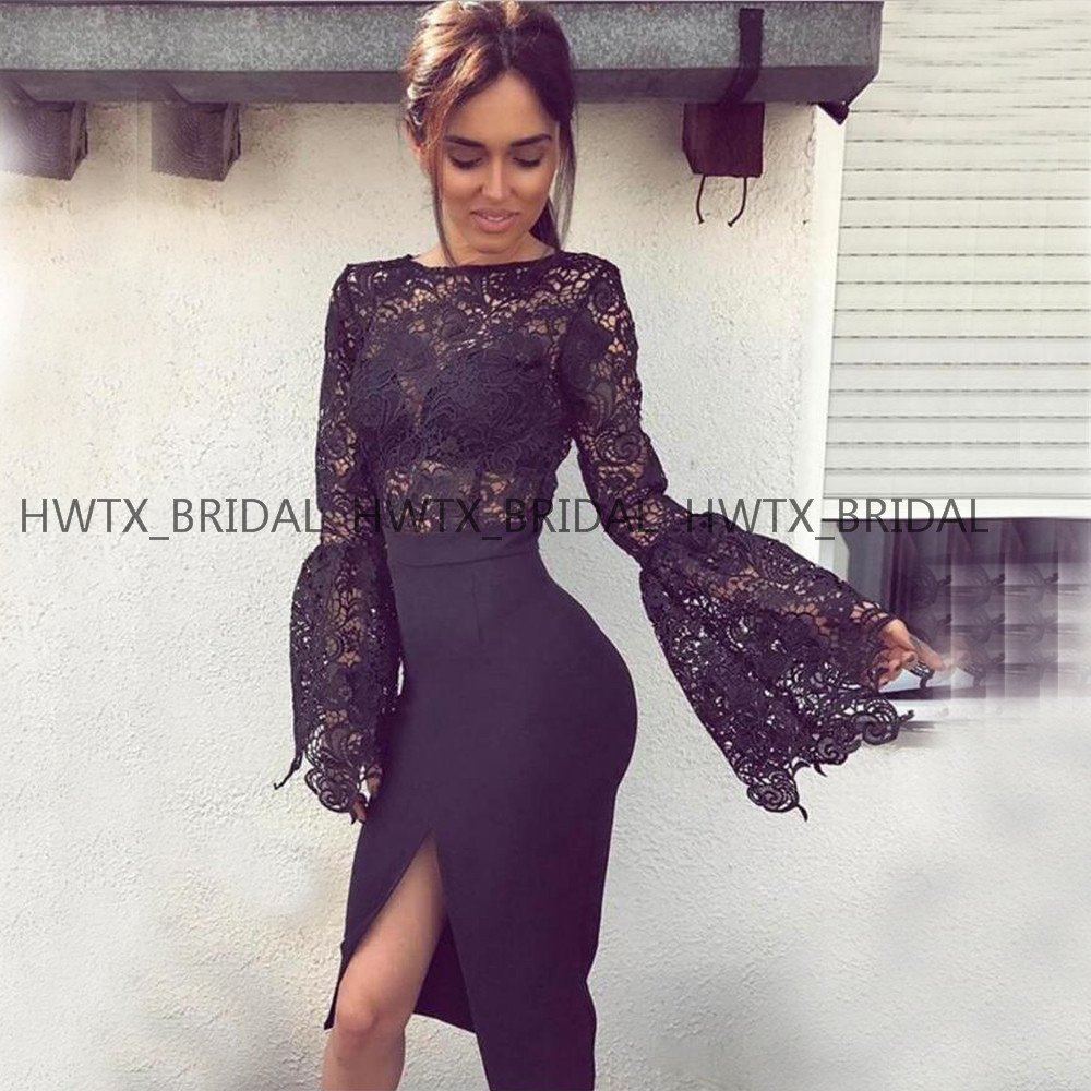 Sexy Black Lace   Cocktail     Dresses   Long Sleeves Tea Length Satin Slit Mermaid Formal Party Gown Vestidos coctel 2019 Custom Made