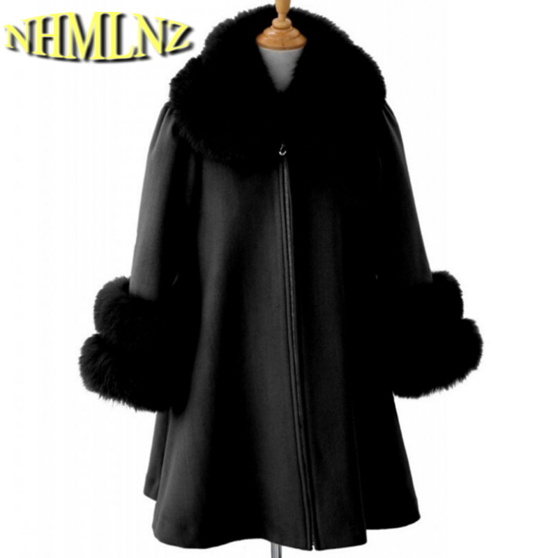 New Style Fashion Women Winter Coat Thick Elegant Fur collar Warm Wool Coat Big yards Loose High quality Woolen Coat Women G1949 2016 new fashion fur collar women coat sexy ladies wool sweater double breasted thick skirt cotton dress 3 colors size s 2xl page 4 page 5 page