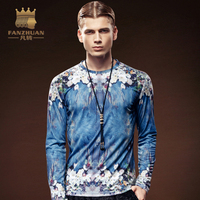 FANZHUAN Featured Brands Clothing New fashion Fall mens tops tees O Neck Long sleeve Vintage floral Print Tshirt for men M 5XL