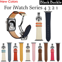 Herm Logo on Clasp Strap for Apple Watch Series 5 4 3 2 1 44MM 40MM 42/38MM Leather Single Tour Deployment Watch Band for iWatch