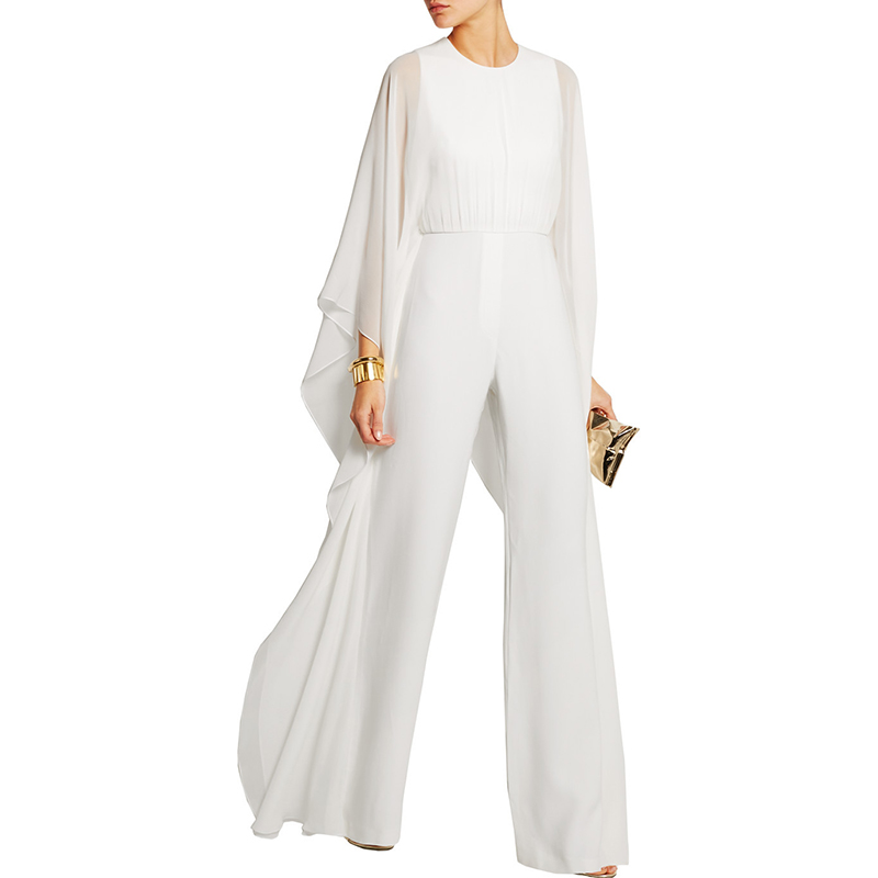 Women Casual Ruffles Jumpsuits Wide Leg Pants Loose Butterfly Batwing Sleeve White Long Playsuit Summer Romper Superior Quality