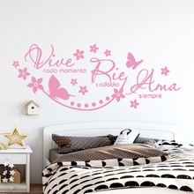 Beauty spanish quotes vive cada momento Home Decor Vinyl Wall Stickers For Children Room Wallpaper Mural Bedroom Art Decal
