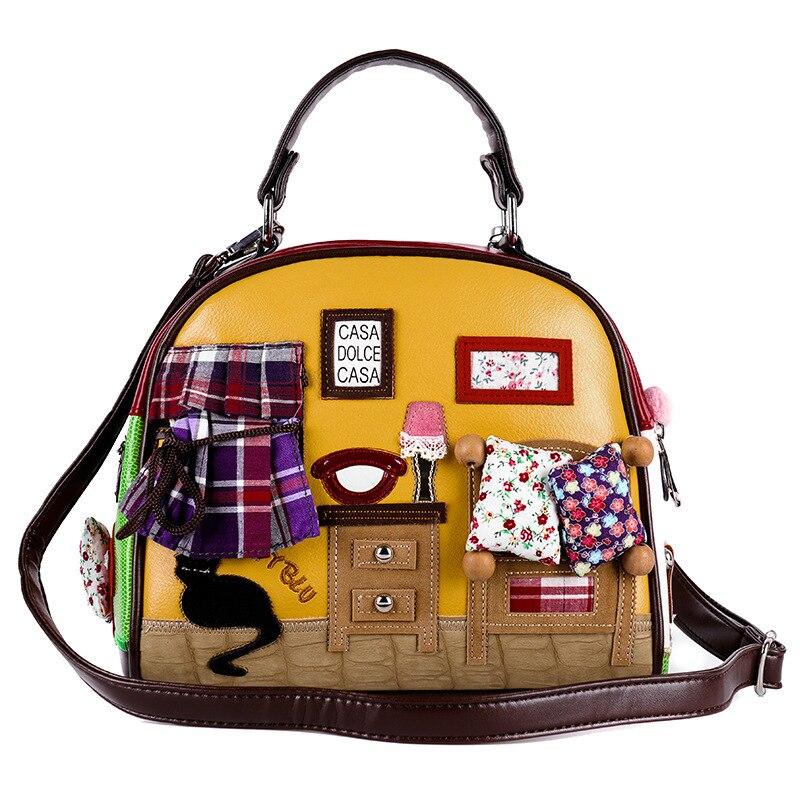 CAT Home Bag 2017 New Women Bags Italy Handbag Retro Handmade Bolsa  Feminina Candy Bolsos Famous Designer Crossbody Shoulder Bag