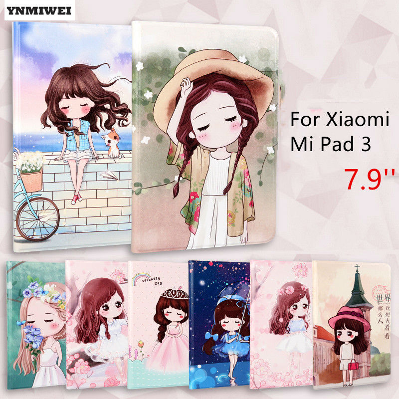 Tablet Case For Xiaomi Mi Pad 3 7.9 inch Ultra Thin Color Printing Smart Cover Case For Mipad 2 MT8176 xiaomi mi4 leather case ultra thin cover function for xiaomi mi 4