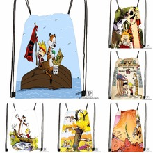 Custom Calvin and Hobbes Drawstring Backpack Bag Cute Daypack Kids Satchel (Black Back) 31x40cm#180531-03-72