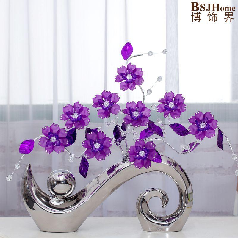 Minimaliste céramique Acrylique creative simple mode fleurs vase décor à la maison artisanat salle de mariage décoration artisanat figurine