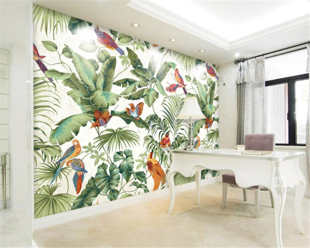 Beibehang 3d Living Room Background Decorated Wallpaper Hand-painted European Tropical wood flowers and birds 3D wallpaper mural