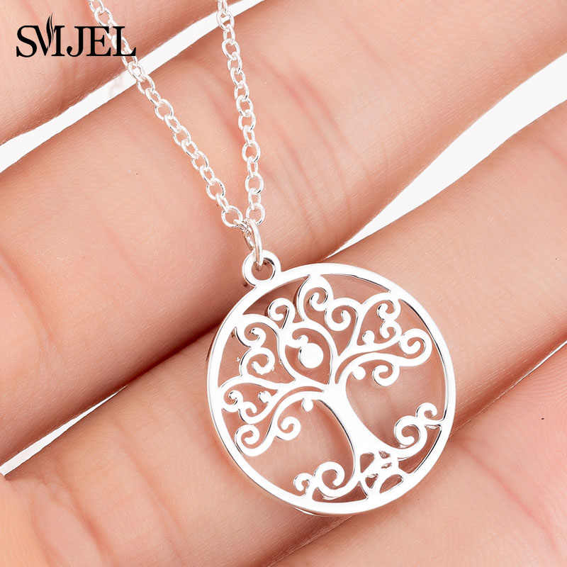 SMJEL Stainless Steel Flower Tree of Life Pendant Necklace Women Collier  Circle Mandala Necklaces Ancient Egyptian Jewelry Gift
