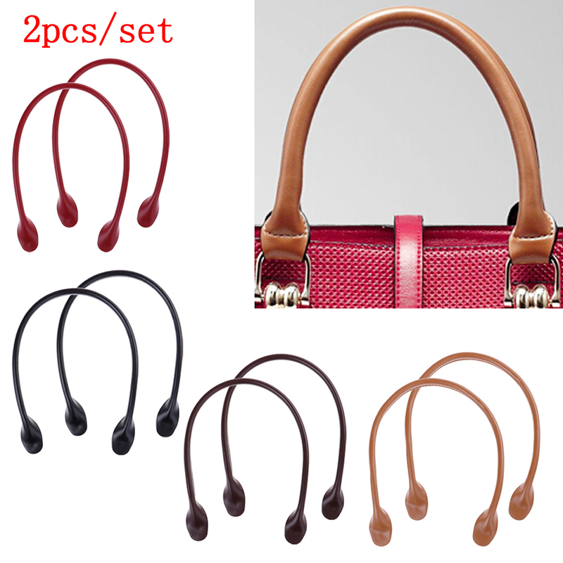 1Pair Leather Handles For Handbag DIY Bag Accessories Short Straps Sewing Craft