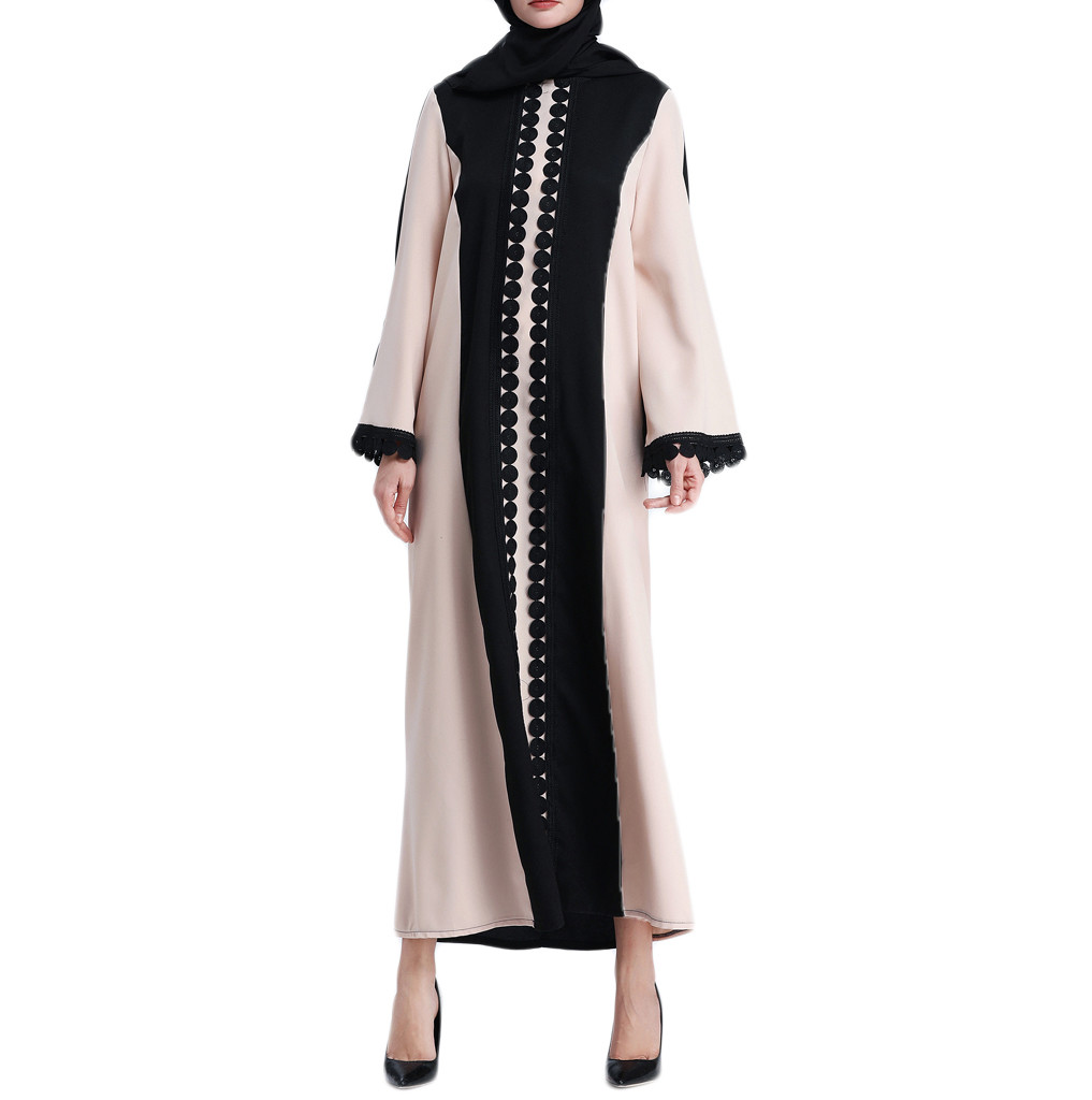 Women's Clothing Muslim Women Summer Blouse Islamic Clothing Lace Splicing Long Coat Middle East Long Robe Womens Clothing Vetement Femme 2019 To Be Renowned Both At Home And Abroad For Exquisite Workmanship Skillful Knitting And Elegant Design