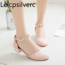 Туфли-лодочки весна-осень, стиль, женская обувь на толстой подошве, с круглым носком, с пряжкой, с круглым носком, большие размеры 30-46