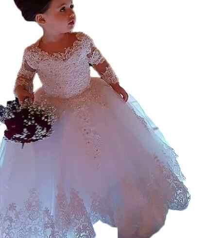 ארוך שרוול כדור שמלת נסיכת פרח בנות שמלות אפליקציות עם חרוזים מדהים חמוד בנות ראשית הקודש שמלה לבן