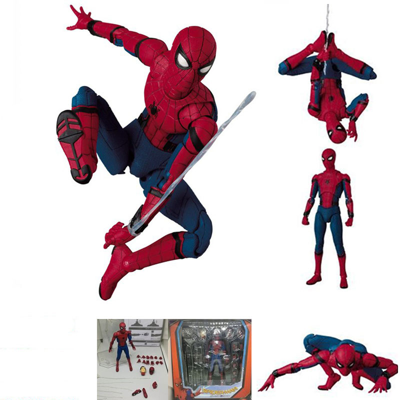 Spider Man Peter Parker Homecoming Mafex 047 PVC Action Figure Collection Model Toys Christmas Birthday Gift
