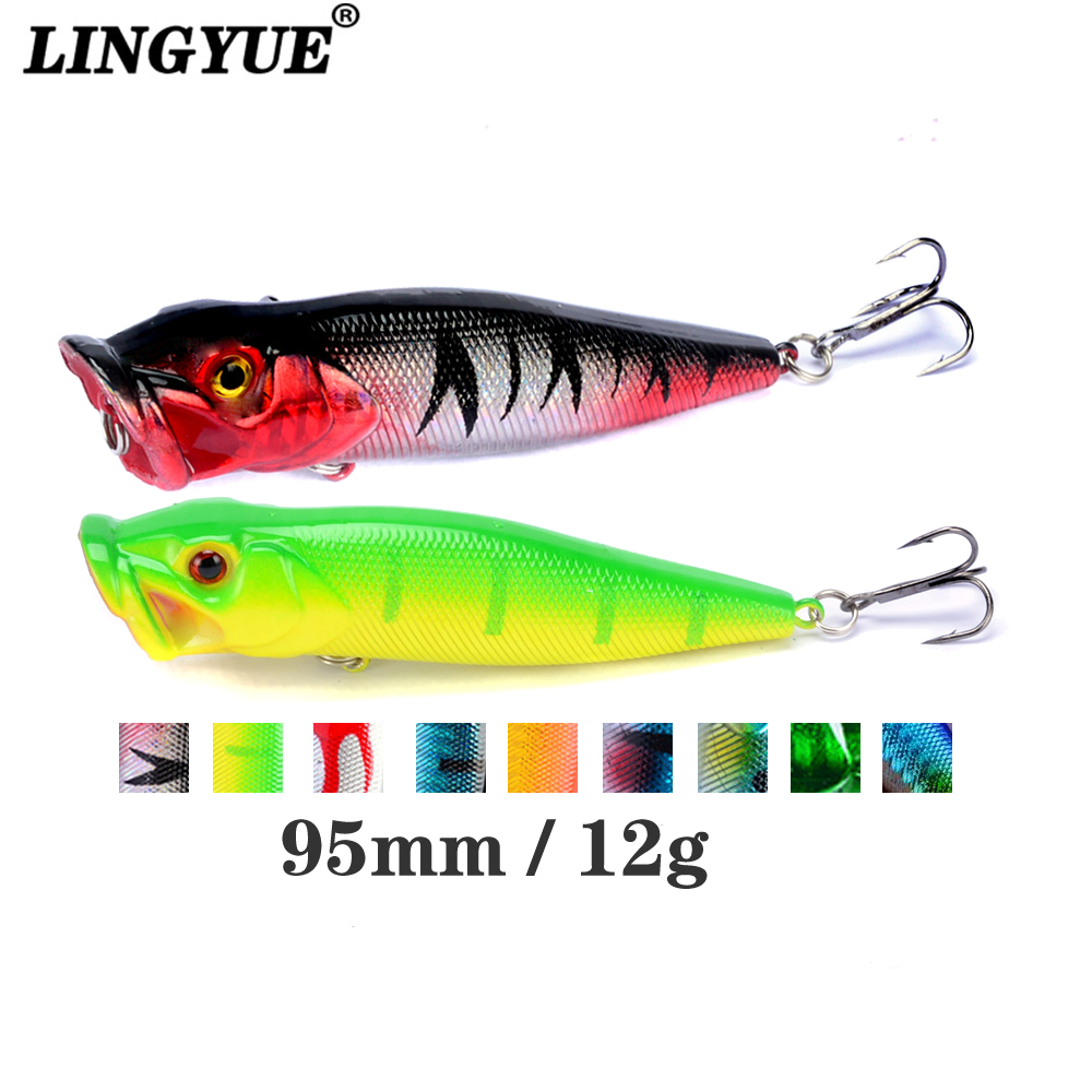 New Arrival 1 Pcs Big Popper Fishing Lures 9.5cm 12g 3d Eyes Bait Topwater Crankbait Wobblers Tackle Isca Poper Japan