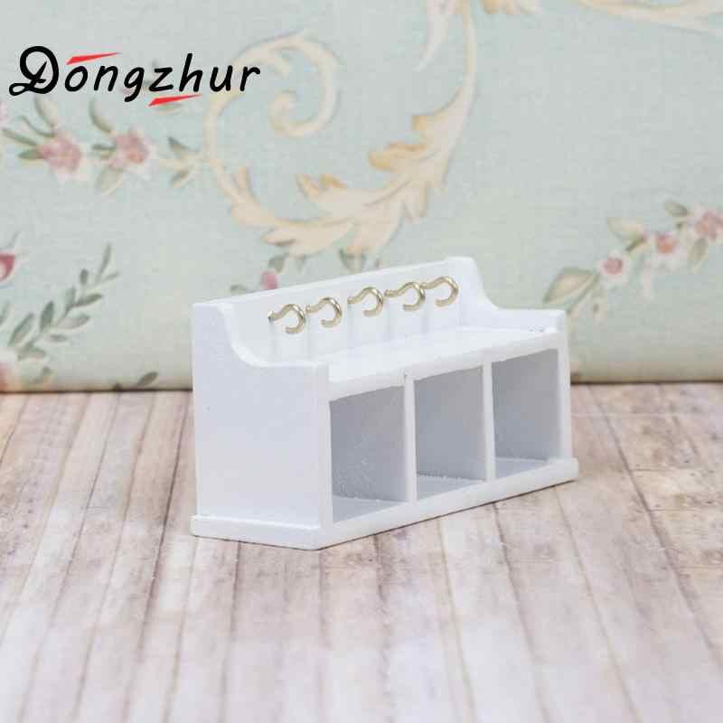 Dongzhur Wood Shelf Dollhouse Miniature 1:12 Mini Storage Cabinet With Hooks DIY Doll House Furniture Miniaturas Casa De Munecas