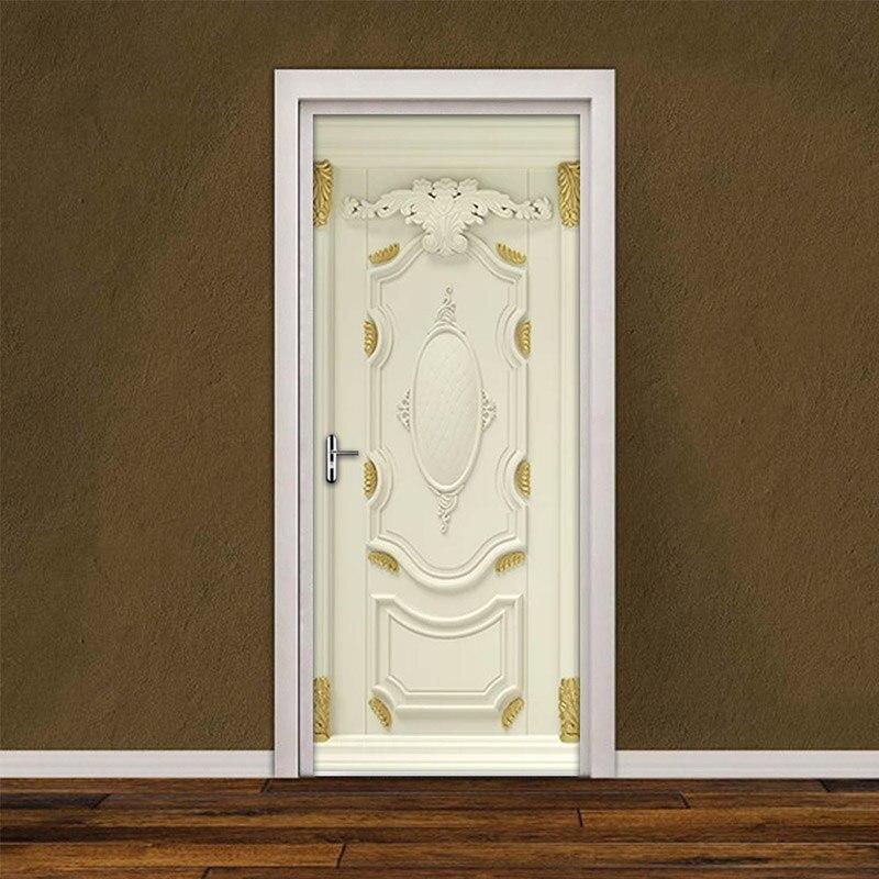 2Pcs/Set Golden Embossed Pattern 3D Wall Decals Door Sticker Self-adhesive Waterproof Wallpaper Home Decor Door Sticker Mural