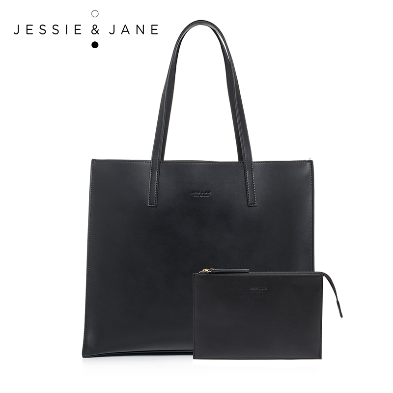 JESSIE JANE New Arrival Practical Women Composite Bags Simple Split Leather Shoulder Bag with a Pouch