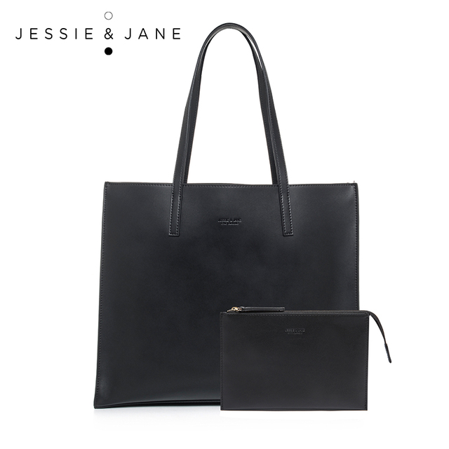 JESSIE&JANE New Arrival Practical Women Composite Bags Simple Split Leather Shoulder Bag with a Pouch Totes Vintage Lady Bag041